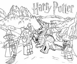Гарри Поттер лего и дракон раскраска