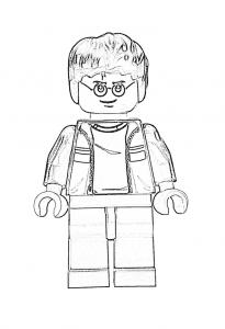 Раскраска Гарри Поттер лего в очках