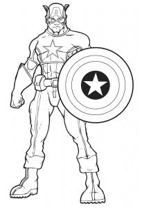 Капитан Америка со щитом раскраска для малышей