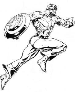 Капитан Америка в прыжке