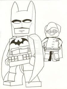 Раскраска Бэтмен лего и мальчик