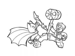 Лего Бэтмен сражается раскраска