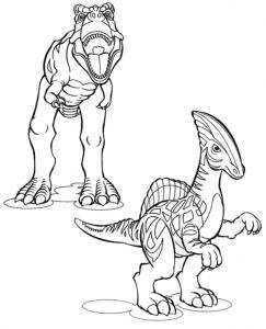 Два динозавра Лего Раскраска