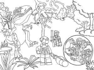 Динозавры Лего возле дерева