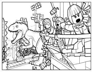 Люди и динозавр Лего раскраска для малышей