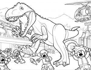 Динозавр Лего и мелкие люди раскраска