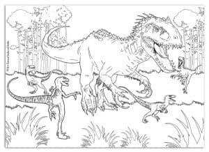 Динозавры Лего на природе раскраска