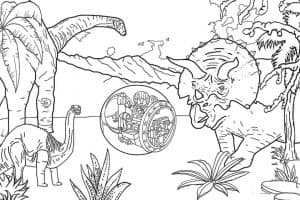 Динозавры Лего красивая раскраска