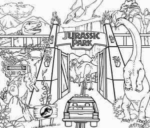 Динозавры Лего и автомобиль раскраска
