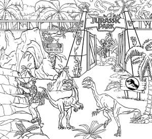 Динозавры Лего возле парка раскраска