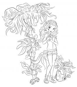 Лего Френдс раскраска девочка возле пальмы