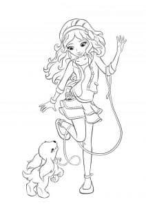 Раскраска Лего Френдс девочка с собачкой