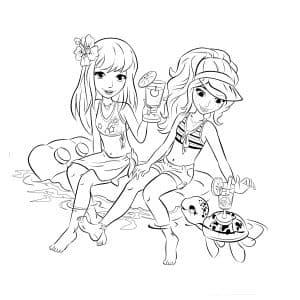 Две девочки и черепаха раскраска Лего Френдс