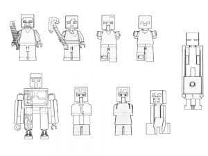 Лего Майнкрафт раскраска для ребенка