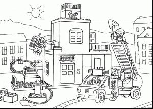 Раскраска Лего пожарные