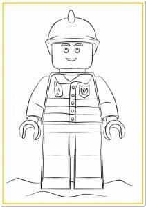 Лего пожарный раскраска для детей
