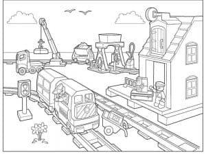 Лего сити и поезд раскраска для ребенка