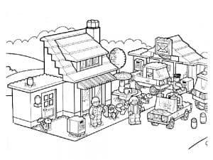 Дом и люди раскраска лего