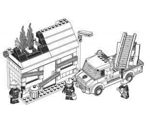 Дом горит Лего раскраска