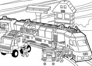 Поезд Лего раскраска детская