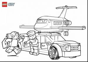 Самолет и автомобиль Лего раскраска для ребенка