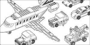 Машины лего и самолет раскраска