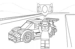 Гонщик Лего с кубком