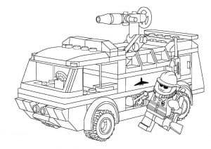 Машина Лего с пожарником раскраска