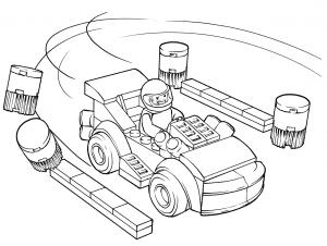 Машина Лего с гонщиком раскраска детская
