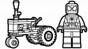 Человек паук Лего и трактор