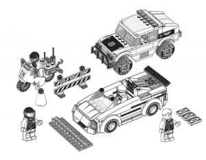 Два автомобиля Лего раскраска для ребенка