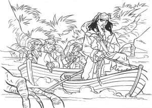 Пират и лодки раскраска детская