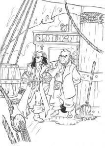 Раскраска для детей пираты карибского моря