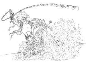 Раскраска детская призрачный гонщик