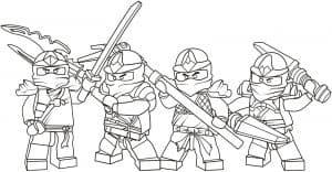 Лего четыре воина раскраска
