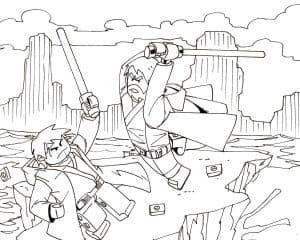 Два лего воина сражаются