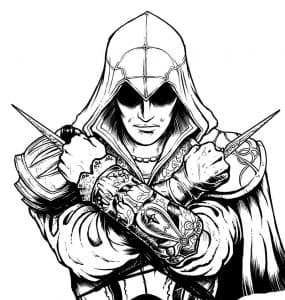 Ассасин с мечами раскраска