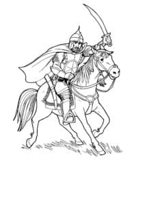 Богатырь с мечом на лошади