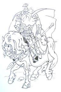 Богатырь в плаще на коне