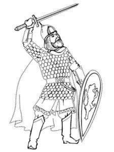 Богатырь с мечом и щитом