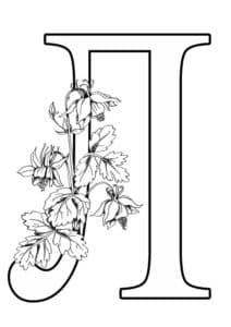 Буква Л с цветами