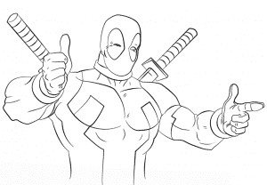 Дэдпул с двумя мечами раскраска