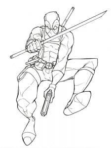 Дэдпул прыгает с мечом раскраска