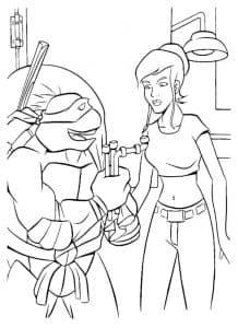 Донателло и девушка раскраска