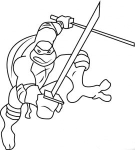 Леонардо с мечами раскраска детская