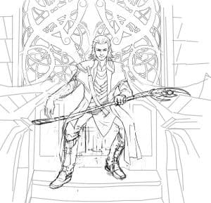 Раскраска Локи на троне
