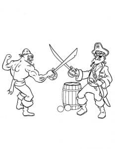 Пираты сражаются раскраска