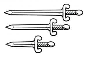 Три меча раскраска