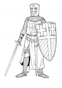 Рыцарь с мечом и щитом в каске