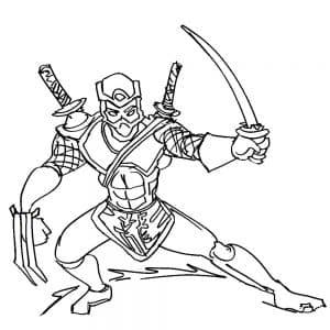 Самурай с мечами раскраска